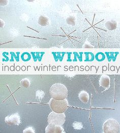 Keep little ones entertained inside with Snow Window Sensory Play.