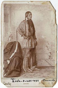Comanche Native American Warrior by Bretz of Fort Sill - Oklahoma Territory (c.1880s).