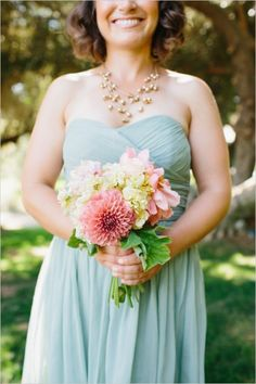 bridesmaid bouquet #bright bouquet #bridesmaids #weddingchicks http://www.weddingchicks.com/2014/02/28/soft-summer-vineyard-wedding/