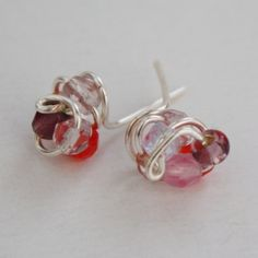 Stud earrings beaded wire wrapped knotted nickel by collscreations, $10.00