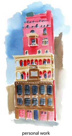 pink palace - illustration by Caitlin McGauley #illustration#pink#architecture