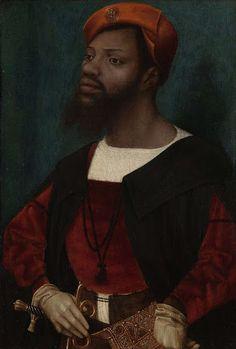 Portret van een Afrikaanse man met baard (Christophle le More?), Jan Jansz Mostaert, ca. 1525 - ca. 1530