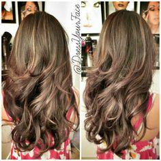 multidimension color, warm colors, fall hair colors, blonde highlights, long hair, layered hair, brown hair, long layer, dream hair