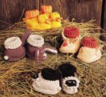 Barnyard Baby Booties by Sue Flanders - one of 7 knitting patterns for baby
