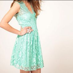 Mint lace dress. Cute!