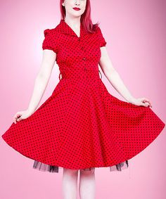 Look at this #zulilyfind! HEARTS & ROSES LONDON Red & Black Small Dot Shirt Dress - Women by HEARTS & ROSES LONDON #zulilyfinds