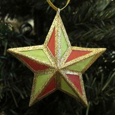 Festive Glitzy Star Ornament | AllFreeChristmasCrafts.com