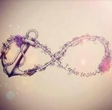 For those obsessed with anchors and infinities, do this one. It's unique, unlike the others! tattoo ideas, first tattoo, infinity signs, infinity tattoos, rose tattoos, anchor tattoos, sink, a tattoo, quot