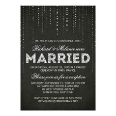 Glitter Look Wedding Reception Only Invitation