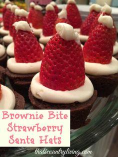Brownie Bite Strawberry Santa Hats