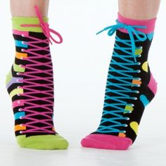 Black Zany Sneaker Ankle Socks  These black zany sneaker socks are just like our fan-favorite classic but with a lovely little lace-up twist! Sneaker style lace graphics with a real tie at the top add an extra pop of color to these black anklets decked out in colorful stripes, stars, and hearts.  #funkysocks #littlemissmatched