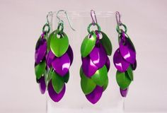 Scalemaille earrings  violet and green aluminum scales niobium earwire
