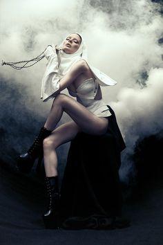 Photographer: Khoa Bui † Model: Lucy M † #fashion #editorial #nun #femalemodel #nunshabit #smoke #fog #mist #corset #religion #religious #iconography #fashionphotography #nunsploitation #KhoaBui #LucyM