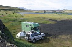 Think you camp off the beaten path? A 4x4 Sprinter expedition camper van in the wilds of Iceland, built by Tartaruga of Switzerland.
