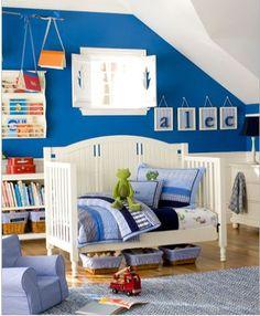 blue toddler boy room.