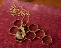 Gold Colony Collapse Real Bee Necklace