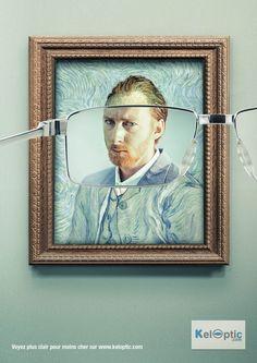 llllitl-keloptic-opticien (Using Vincent Van Gogh) #PrintAd | Print Advertisement | Creative Advertising |