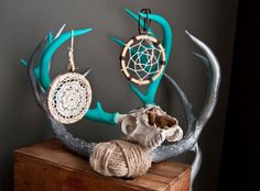 Sliver and turquoise antlers and dream catchers! LOVE!