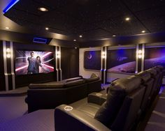 Stunning Modern and Traditional Home Theater Room Design : Charming Contemporary Home Theater Room With Elegant Black Home Theather Chairs A...