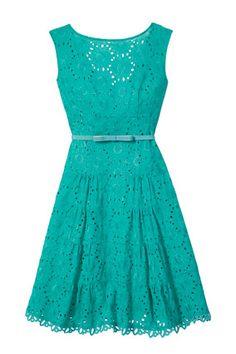 Teal eyelet dress - so cute!