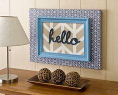 """hello"" painted herringbone canvas. ~ Mod Podge Rocks! #scotchblue"