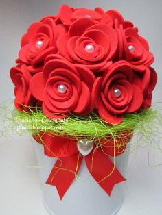 Potted felt flowers