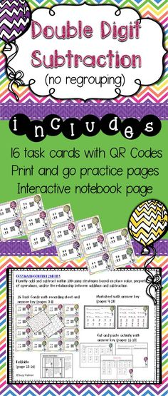 ... Digit Addition and Subtraction with Regrouping and QR codes