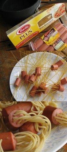 Espagueti a la salchicha