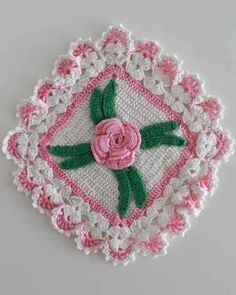 Pretty Pink and white Shabby Chic crochet rose potholder or dishcloth made from a vintage pattern.