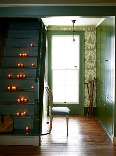 candles on stairs to prevent wandering party guests. decor, stairs, floors, color, candles, hous, dana gallagh, hallway, parti idea