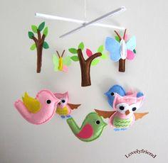 "Baby Crib Mobile - Baby Mobile - Mobile - Crib mobiles - Felt Mobile - Nursery mobile - "" Spring birds and trees "" design. $78.00, via Etsy."