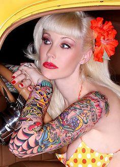 Sabina Kelley ***** sabinakelley, girl, beauti sabina, rockabilly tattoo sleeve, hot pinup, rose tattoo, sabina kelley, tattoo art, inki tat