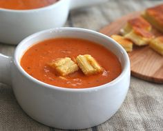Grilled Cheese Croutons & Simple Tomato Soup - Low Carb and Gluten-Free