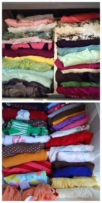 Sorting T-shirts vertically in a drawer, folded into quarters - easier for kids to grab, makes more space too.