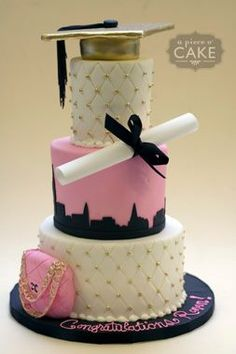 idea, pink graduation cakes, cookies graduations, graduation party cake, pink graduation party, graduat cake, city skylines, grad cake, graduat parti