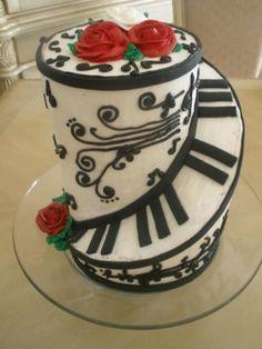 piano, cake idea, music cakes, birthdays, swirl, red roses, themed cakes, cake art, birthday cakes