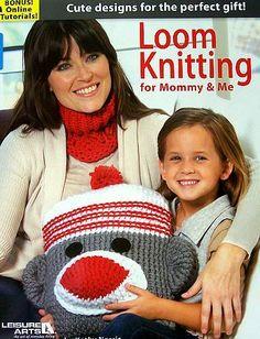 loom knitting monkey pillow, sock monkeys