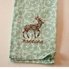 Flora Deer Embroidered Tea Towels, Embroidered Towels,  Aqua Swirl Machine Embroidered Towels, Machine Embroidered Gifts on Etsy, $15.00