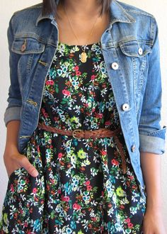 Flower dress, belt, and jean jacket.  I have this dress, a braided belt and a jean jacket...omg I can actually make this outfit haha