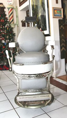 Antique Barber Chair Koken Round Seat Round Back by vintage1831