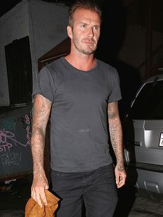 It's a boys' night out for David Beckham, who joins a pal for dinner at Petty Cash Taqueria in Los Angeles on Wednesday.