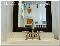 How to add moulding around a bathroom mirror (You can do this and not take down the mirror???? Awesome)