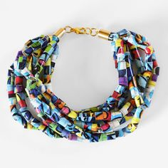 Duck Tape Beads bracelet/necklace DIY (And whoever said this has to be just for kids? Duck tape has soooo many creative designs. These would be really light and comfortable to wear, especially in summer!