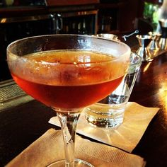 New Orleans Manhattan: 1-1/2 oz Bourbon, 1/2 oz Sweet Vermouth, 1/2 oz Frangelico & Cherry Garnish