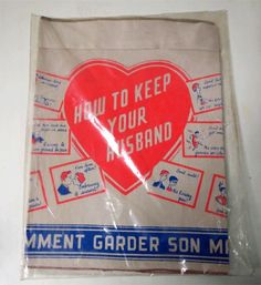 Vintage 1950s HOW TO KEEP YOUR HUSBAND APRON joke gag MINT UNUSED from Atomic Dimestore