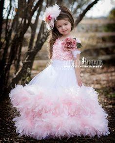 Pink Petal Feather Girls Flower Girl Dress