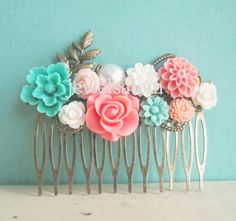 Tiffany Blue & Coral Wedding Hair Comb Peach Pink by JewelsalemBridal