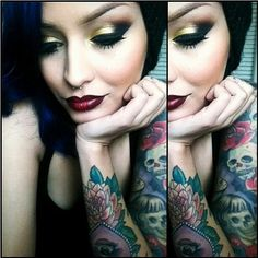 cakes, black hair, makeup, gold eyes and red lips, eyeshadows, homes, tattoo, eye art, berries