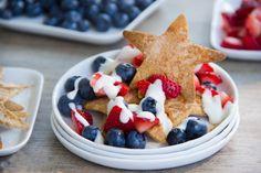 red, white, and blue dessert nachos