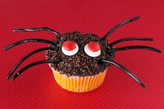Spooky Spider Cupcakes for Halloween.  Super easy to decorate, so fun to do with the kids or for a class party. halloween recipe, cupcak idea, halloween baking, food, bake, spider cupcak, halloween cupcakes, spider cake, halloween spider